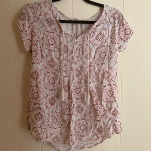 Sonoma pink patterned top with dragon flys